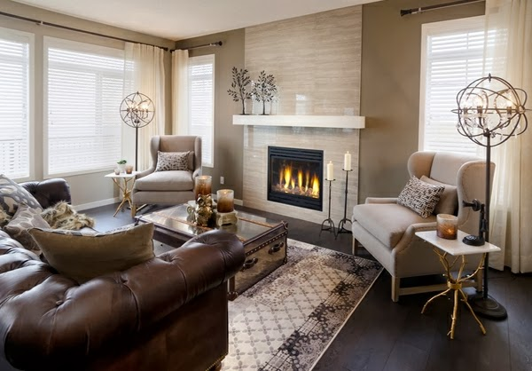 Salas modernas con chimenea colores en casa - Chimeneas para decorar ...