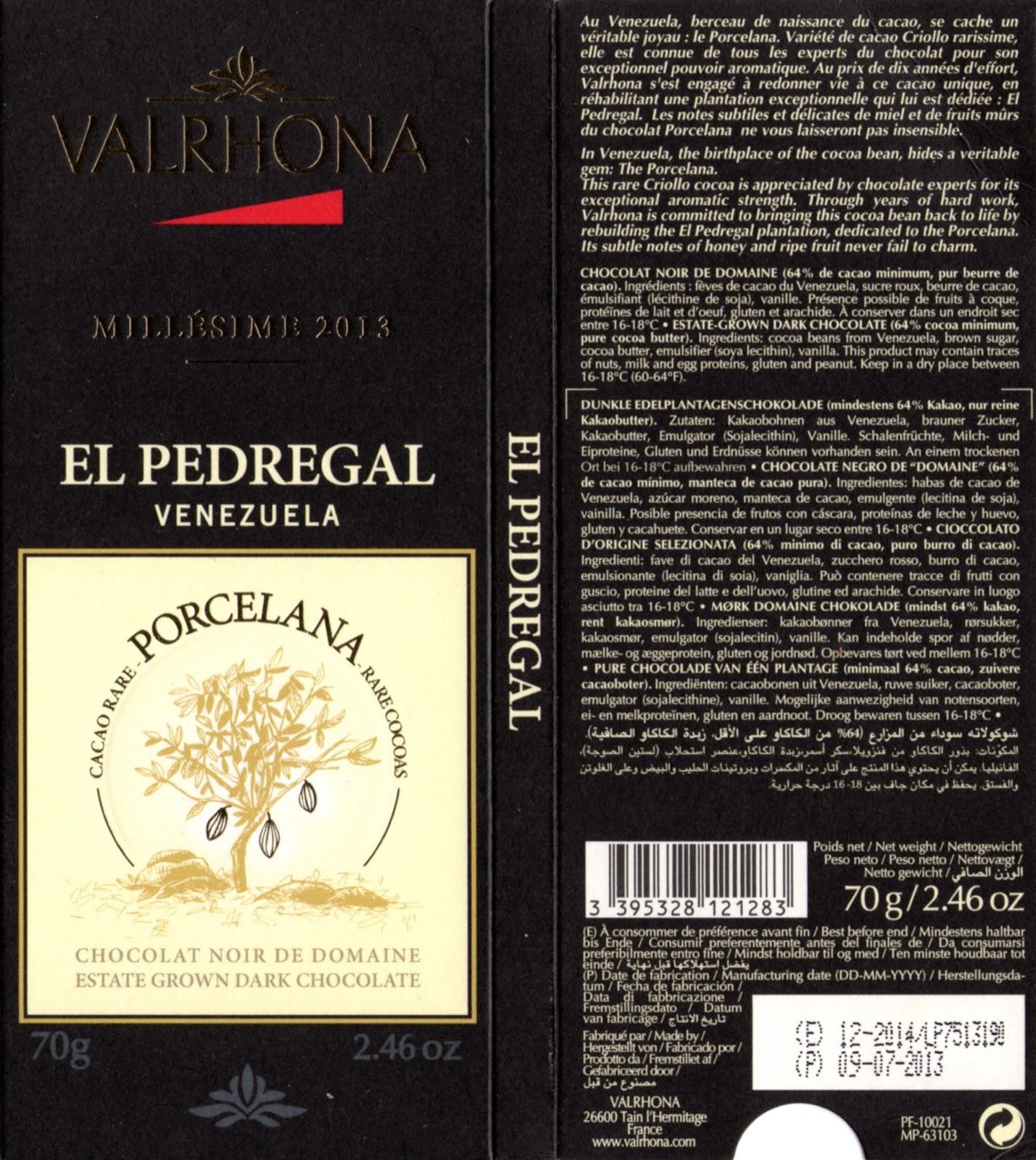 tablette de chocolat noir dégustation valrhona noir de domaine el pedregal vénézuela 2013