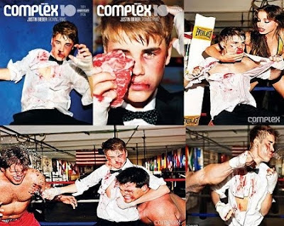 Justin Bieber with get attacked pose in Complex Magazine
