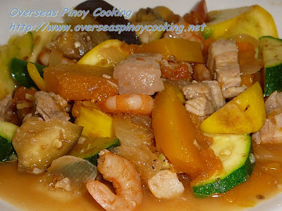 Zucchini and Yellow Squash Button Pinakbet