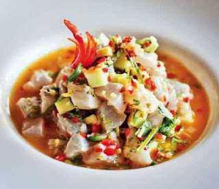 Sea bass ceviche with passionfruit, lime, sweet green mango and coriander dressing