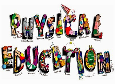 Physical Education, each letter represents a word pertaining to PE