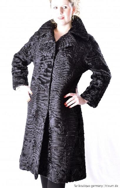 black broadtail knee length fur coat