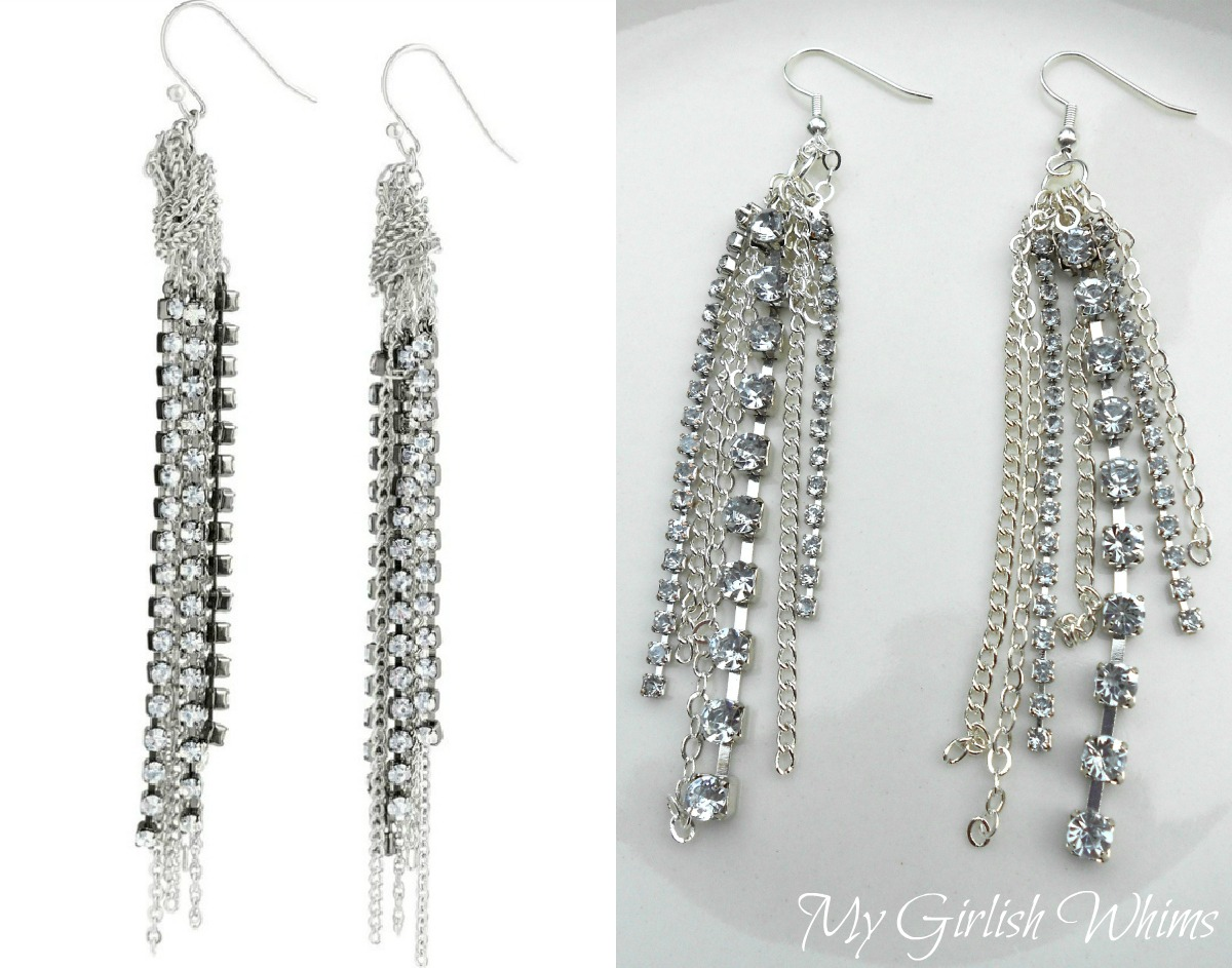 Stella & Dot Knockoff Rhinestone Chain Earrings