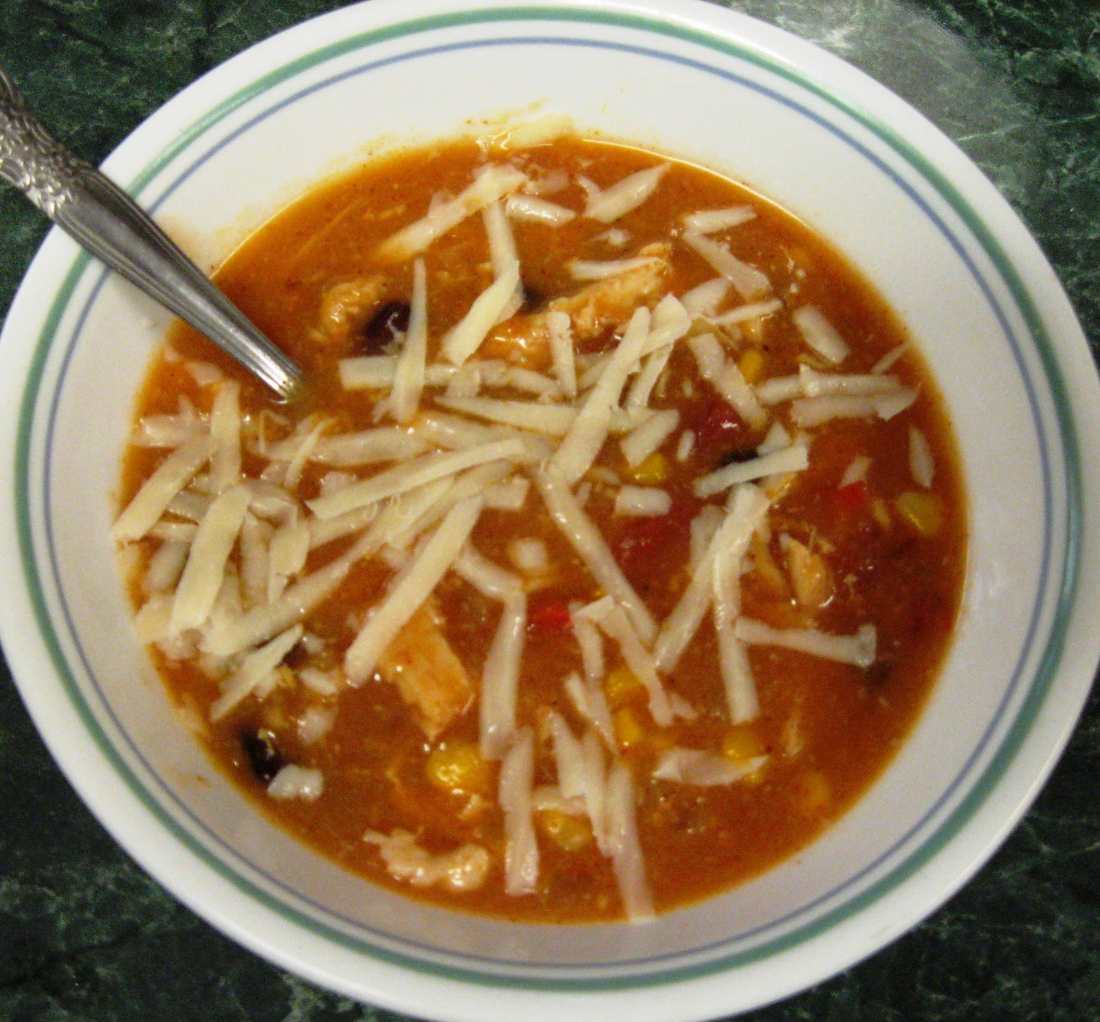... ... Healthy & Low Calorie: Chicken Enchilada Soup in the Slow Cooker