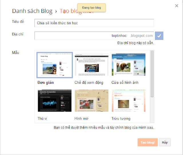 Bài 2: Hướng dẫn tạo Blogspot của Blogger đơn giản