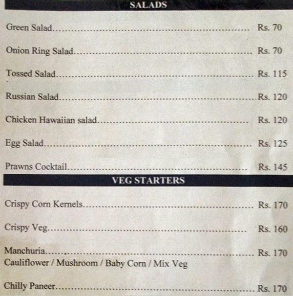 Veg Restaurants in Hyderabad Hotel Sadhvika Menu 6