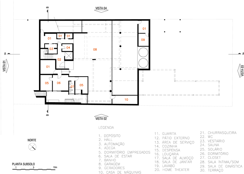 Basement floor plan of Refreshing Brazilian Home by Reinach Mendonça Arquitetos Associados