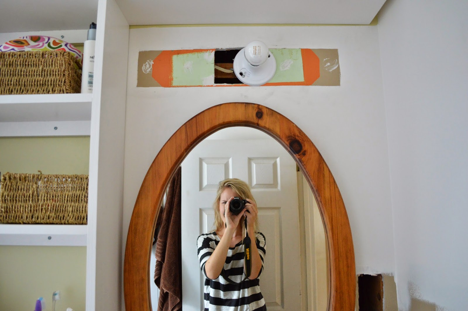 Off center bathroom light fixture - I Guess I M Feeling More Centered These Days Other Than The Shower Tub System The Mirror Is The Only Original Item We Have Kept