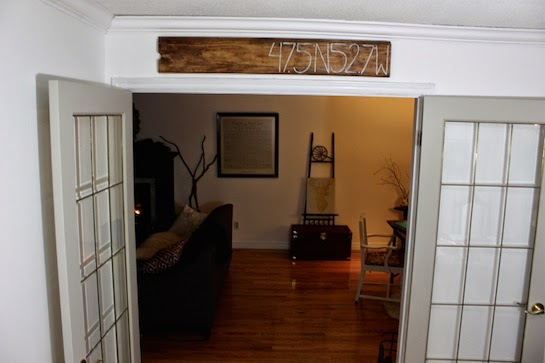 Weve Positioned Our Sign Above The French Doors Leading From Dining Room Into Living I Love Look Of Rustic Stained Wood Against