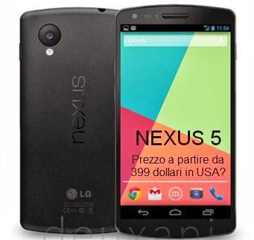 Prime indiscrezioni ufficiose sul prezzo di listino in USA del Nexus 5 a partire da 399 dollari