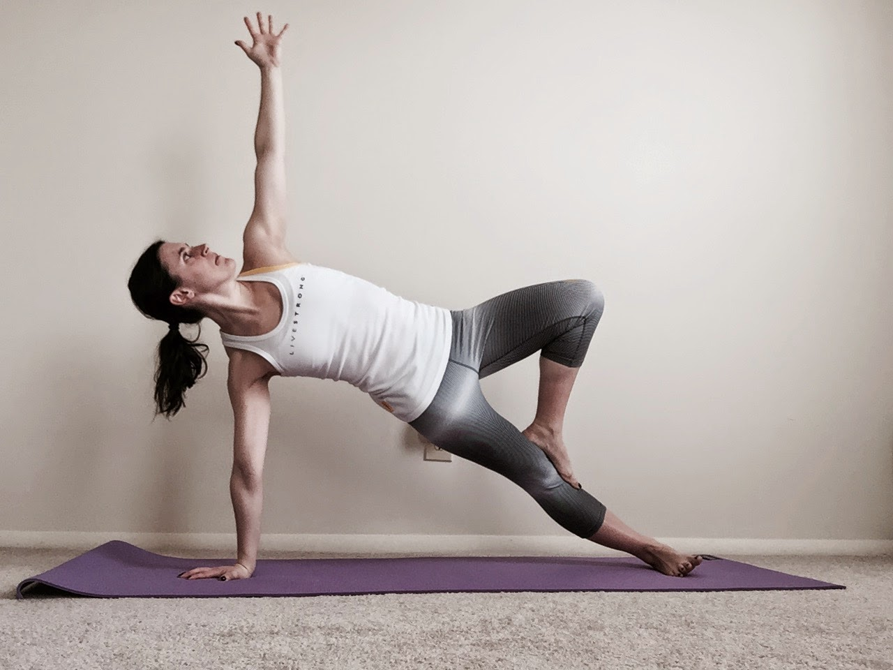 yoga, nike, livestrong, side plank, tree pose