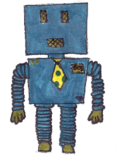 Blue robot Bob doodle drawing for free download
