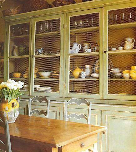 Living with lis bookcases cupboards and painted interiors for Chicken wire kitchen cabinets