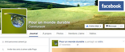 """Retrouvez """"Pour un monde durable"""" sur Facebook :"""