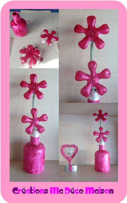 Fleurs faites avec des bouteilles en plastique cr ations ma d co maison for Peindre sur du plastique