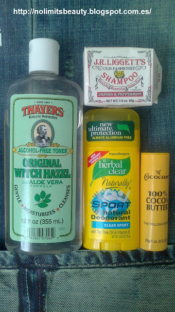 "Productos iHerb: - Thayers alcohol free toner Aloe Vera - Herbal Clear Natural Deodorant ""Clear Sport"" - Cococare 100% Cocoa Butter ""The yellow Stick"" - J.R. Liggett's Shampoo Jojoba & Peppermint"