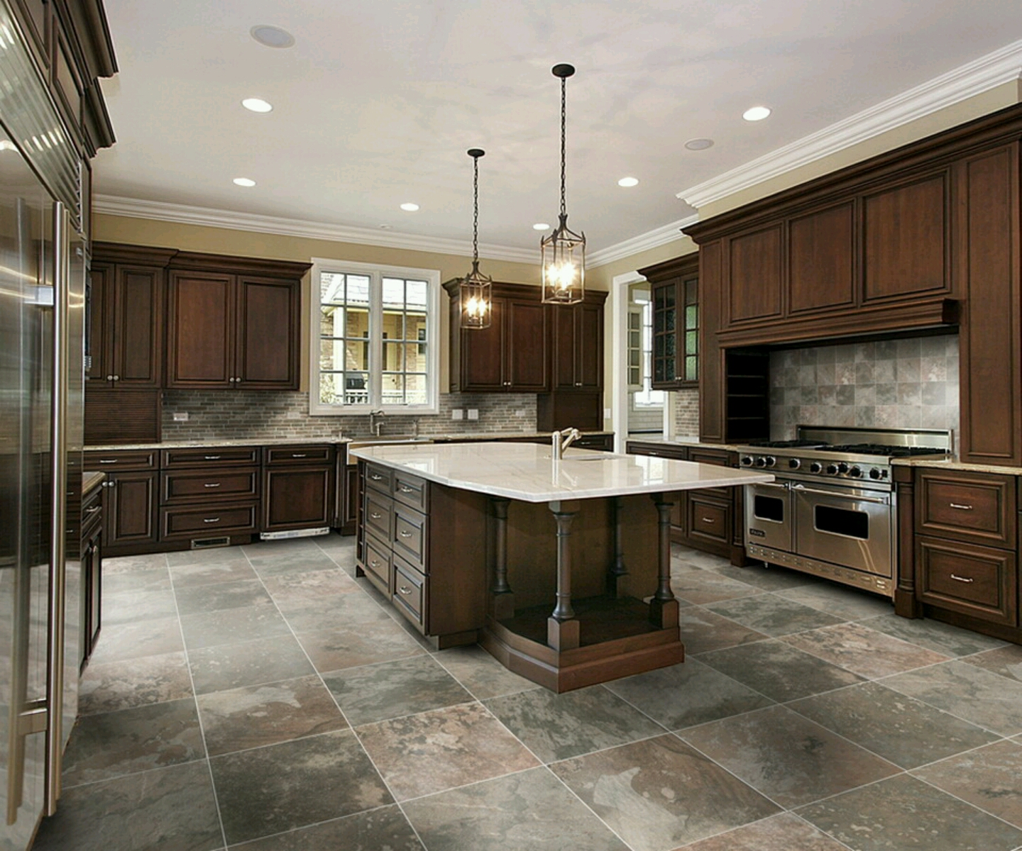 Tile Flooring For Kitchen: New Home Designs Latest.: Modern Kitchen Designs Ideas