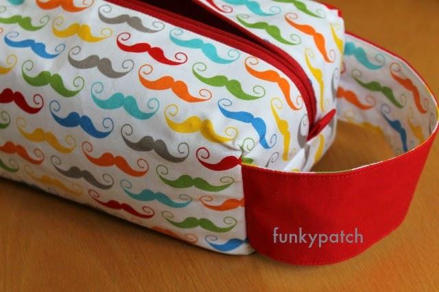 """neceser """"boxy pouch"""" con divertida y colorida tela con mostachos totalmente handmade por funkypatch"""