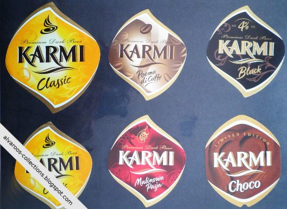 Beer labels collection: Karmi: Classic, Malinowa Pasja, Black, Poema di Caffe, Choco