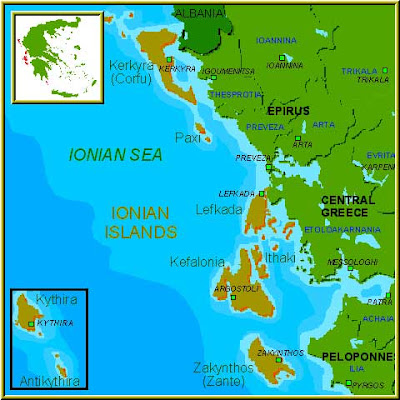 Ionian Islands Map Province Area