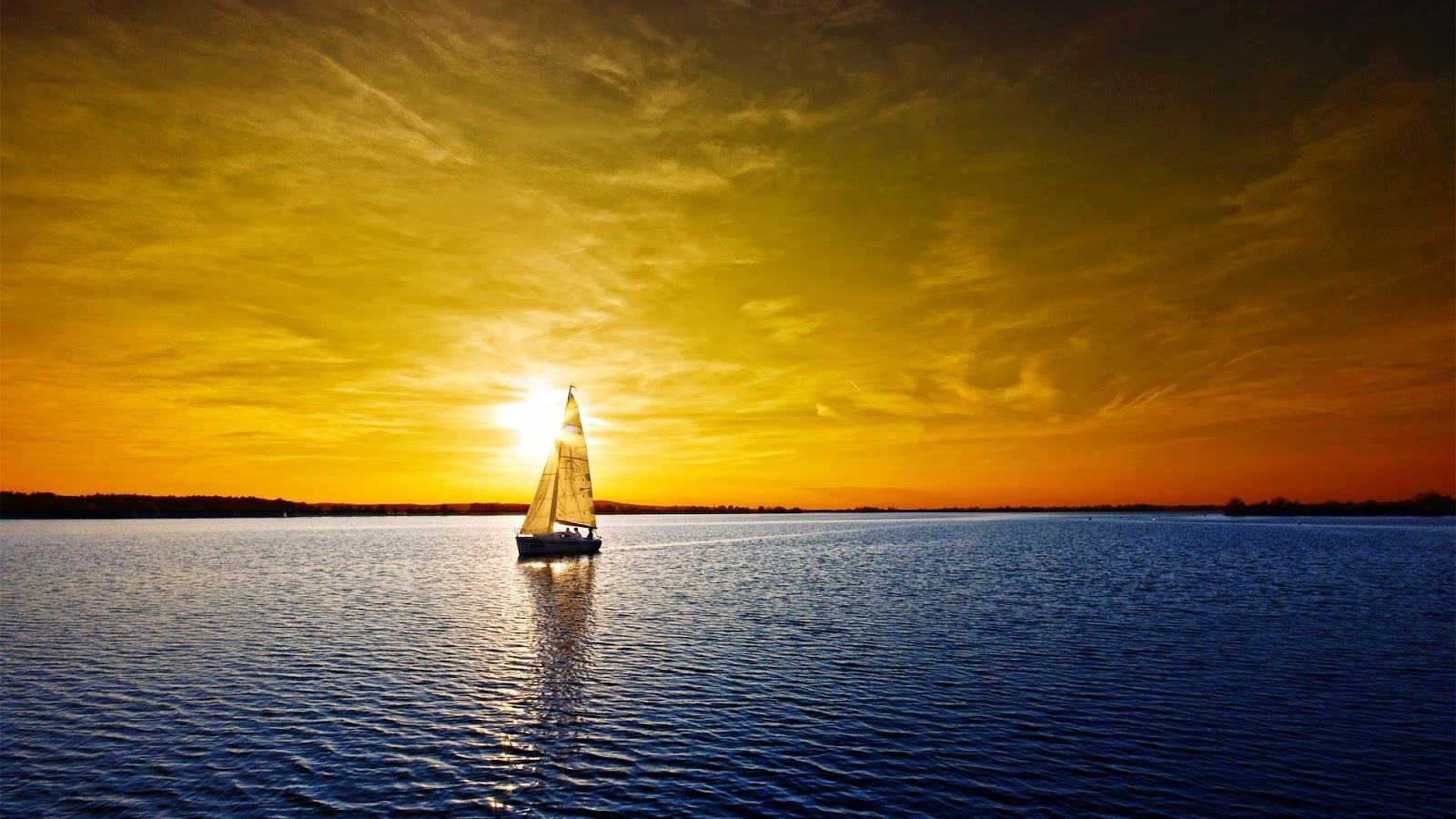 Amazing Sunset Sailboat