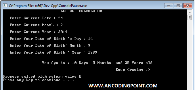 Age Calculator in C++
