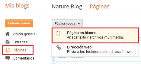 Crear paginas en Blogger