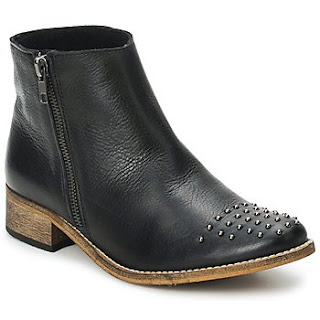 etty London studded black leather ankle boots