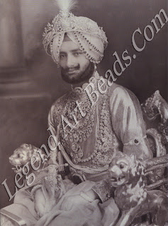 Yadavindra Singh, Maharaja of Patiala, photographed in 1941 wearing a vast array of state jewels, including Empress Eugenie's diamond necklace purchased by his great-grandfather, Mahendra Singh; a diamond 'tiara' created for his grand-father, Rajendra Singh; and the fabulous De Beers diamond necklace made by Cartier for his father, Bhupindar Singh.