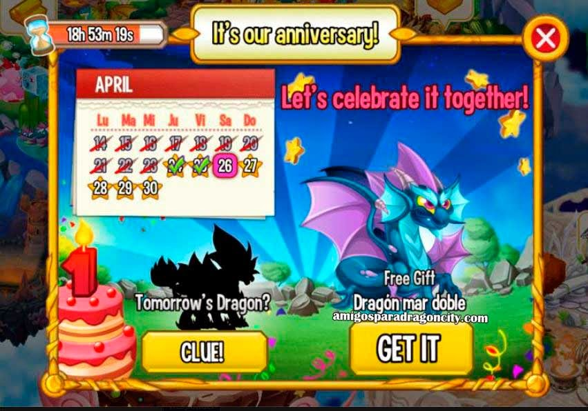 imagen del calendario de aniversario de dragon mar doble de dragon city ios