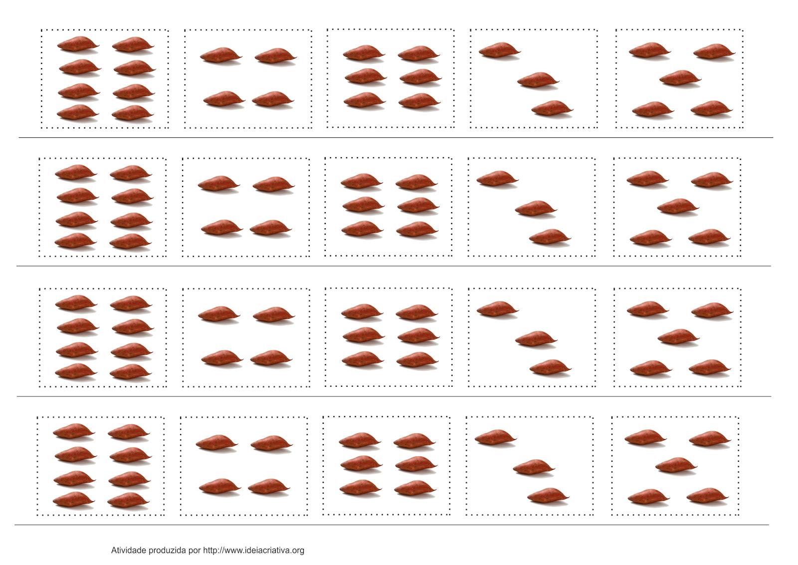 Atividade Recorte e Colagem Alimentação Número e Quantidade
