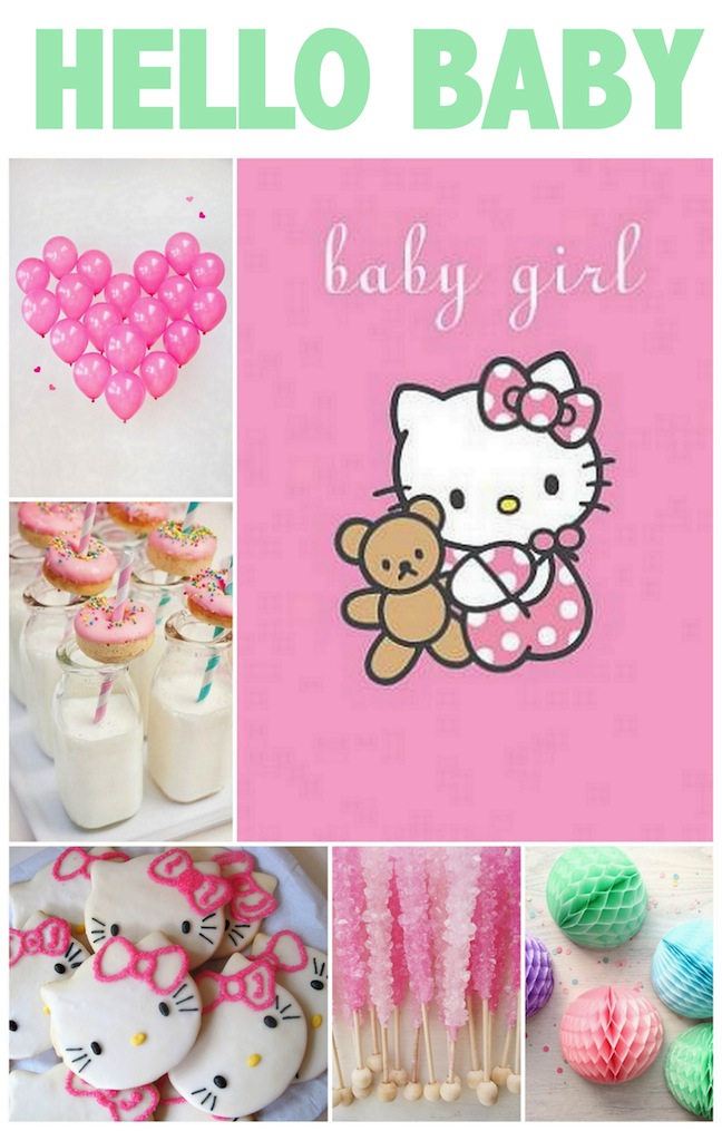 linen lace love hello kitty baby shower