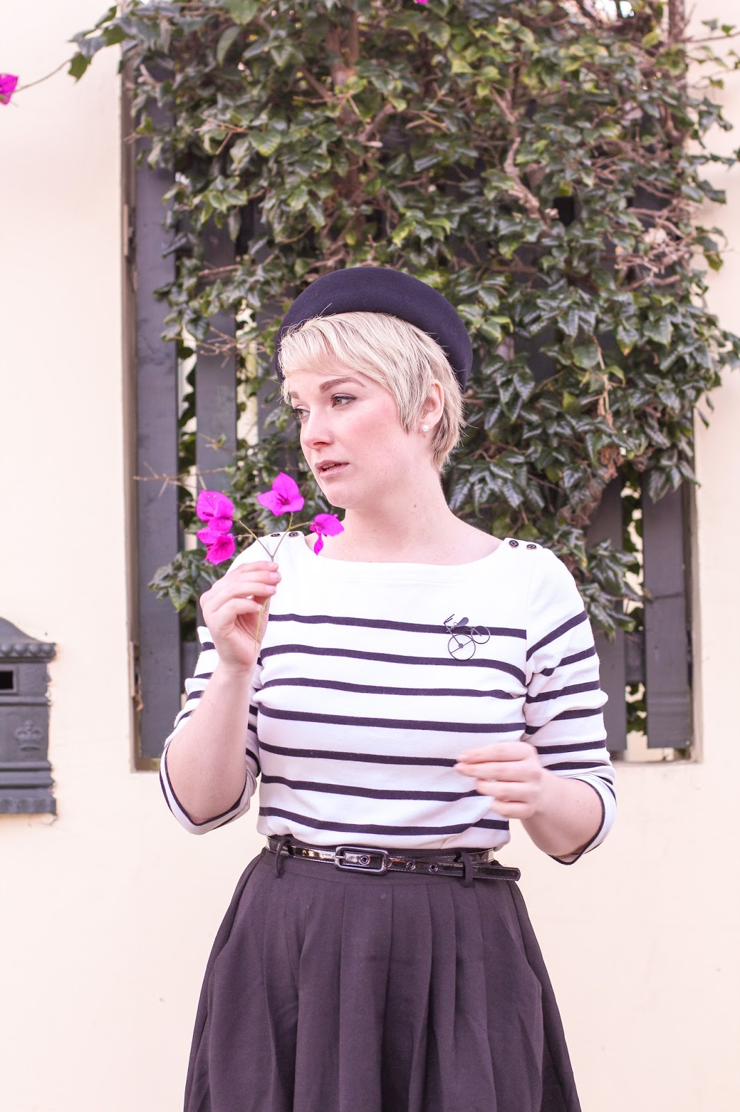 Liana of Finding Femme wears Review Australia black and white striped sailor top with Modcloth black midi skirt, bicycle brooch and black felt hat at Hyde Park, Perth.