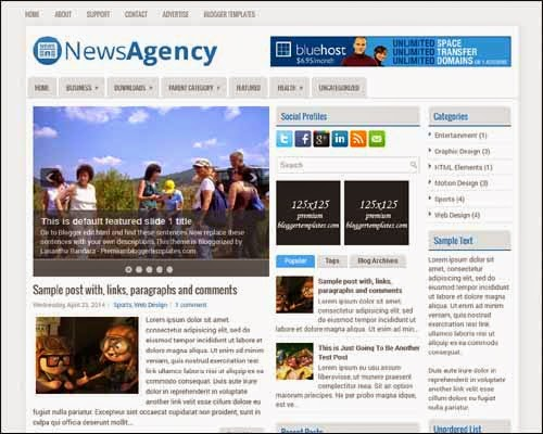 Top 25 responsive best free blogger templates news business newsagency free blogger template cheaphphosting Choice Image