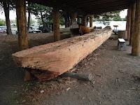 Dugout canoe underway