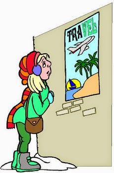 dibujo de una mujer mirando un anuncio de unas vacaciones