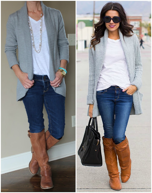 fashion blogger wearing a gray cardigan, white tee, jeans, and boots, hello fashion, casual outfit