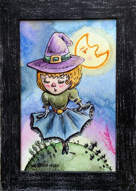Small Art: Flying without a broom (witch) by Elizabeth Casua, tHE 33ZTH oRDER Watercolour artwork + ink