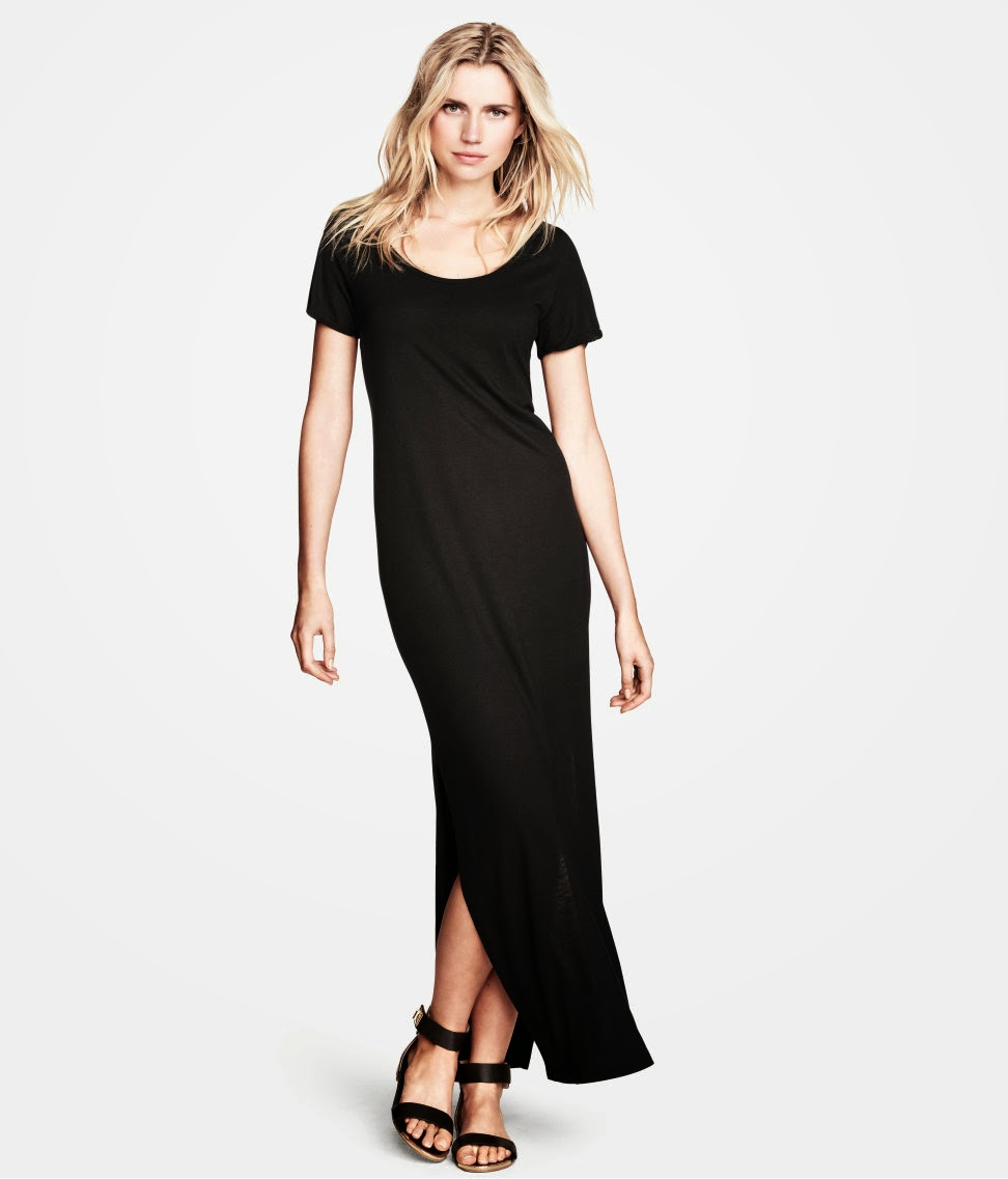 siyah+uzun+elbise H & M 2014 Sommer Kleidung Models