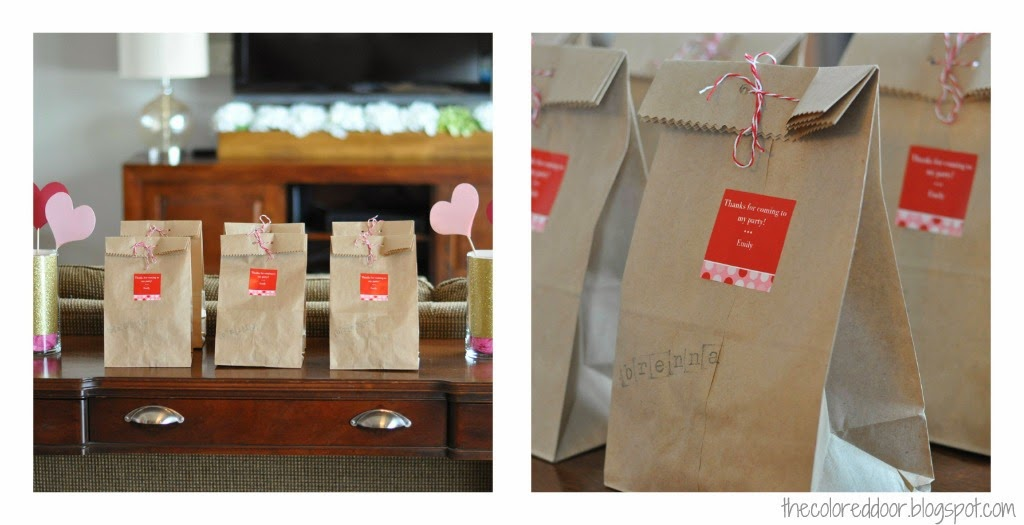 heart birthday party treat bags - the colored door