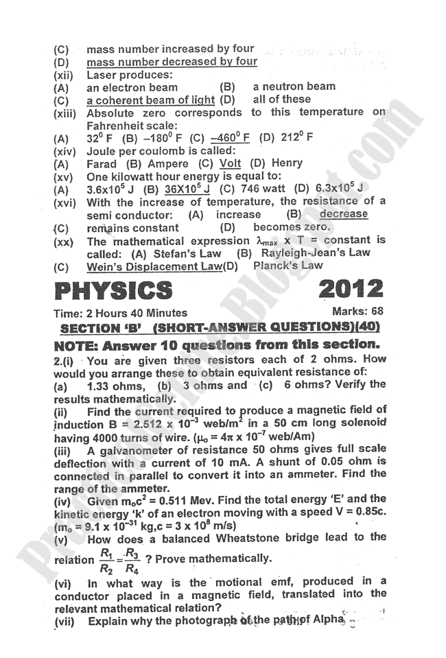 Physics-2012-five-year-paper-class-XII