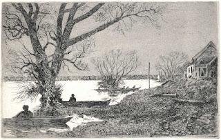 Ekkehard Bartsch: Angler an der Oder, Strichätzung, Aquatinta, 2007