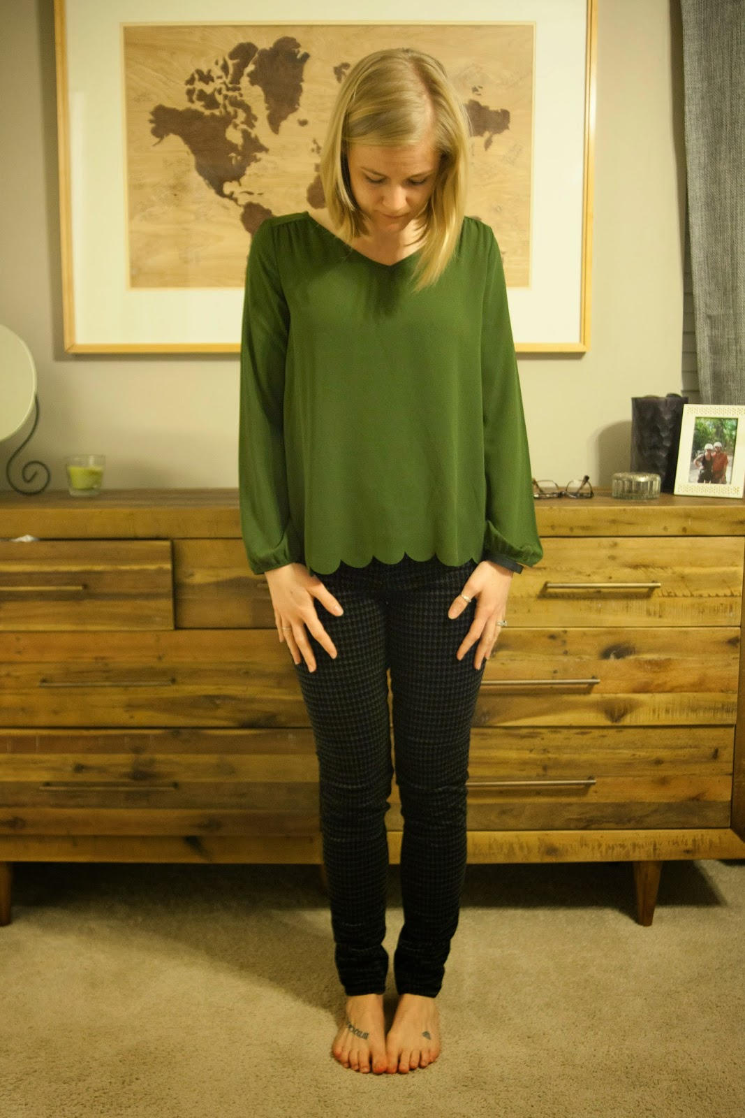 Stitch Fix Amadai Scallop Hem Blouse and Dlphine Houndstooth Corduroy Pant