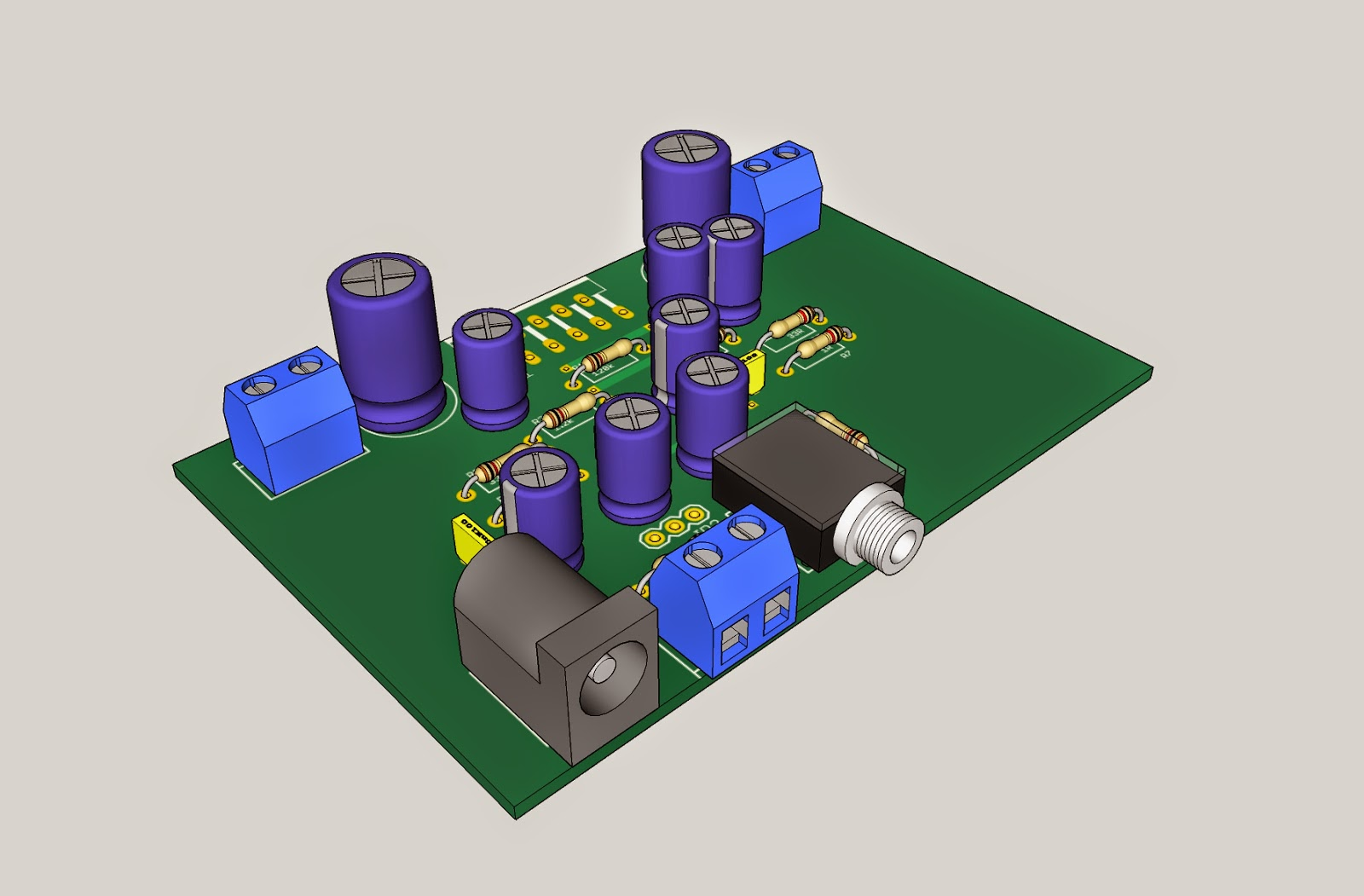 The Answer Is 42 Tda2005 Stereo Amplifier Audio Circuit Diagram Electronic Project Here Are Some Renders Of Pcb And What It Might Look Like When Populated I Havent Got A Model For So Doesnt Show That Part