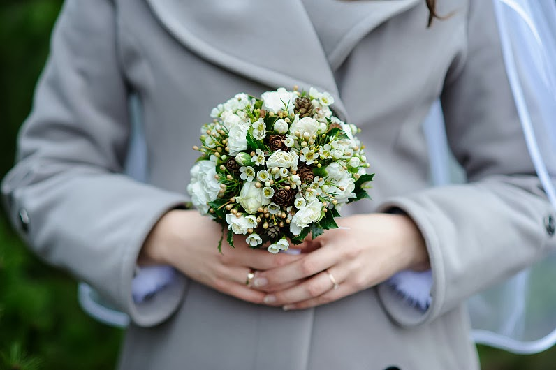 žiemos vestuvinės puokštės