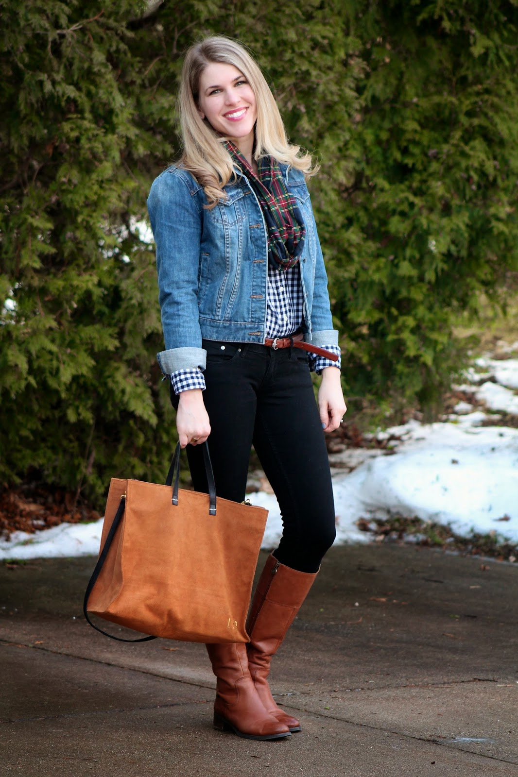 gingham shirt denim jacket, plaid scarf
