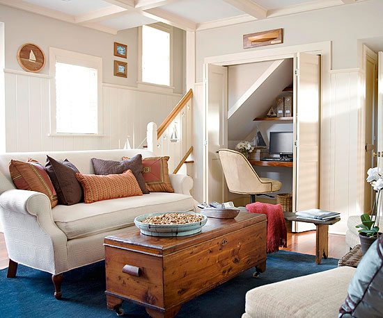 Small homes require a bit of creative thinking when it comes to carving out  space In this tiny living room the homeowners created an office area by 2013 Cottage Living Room Decorating Ideas Modern Furniture Deocor