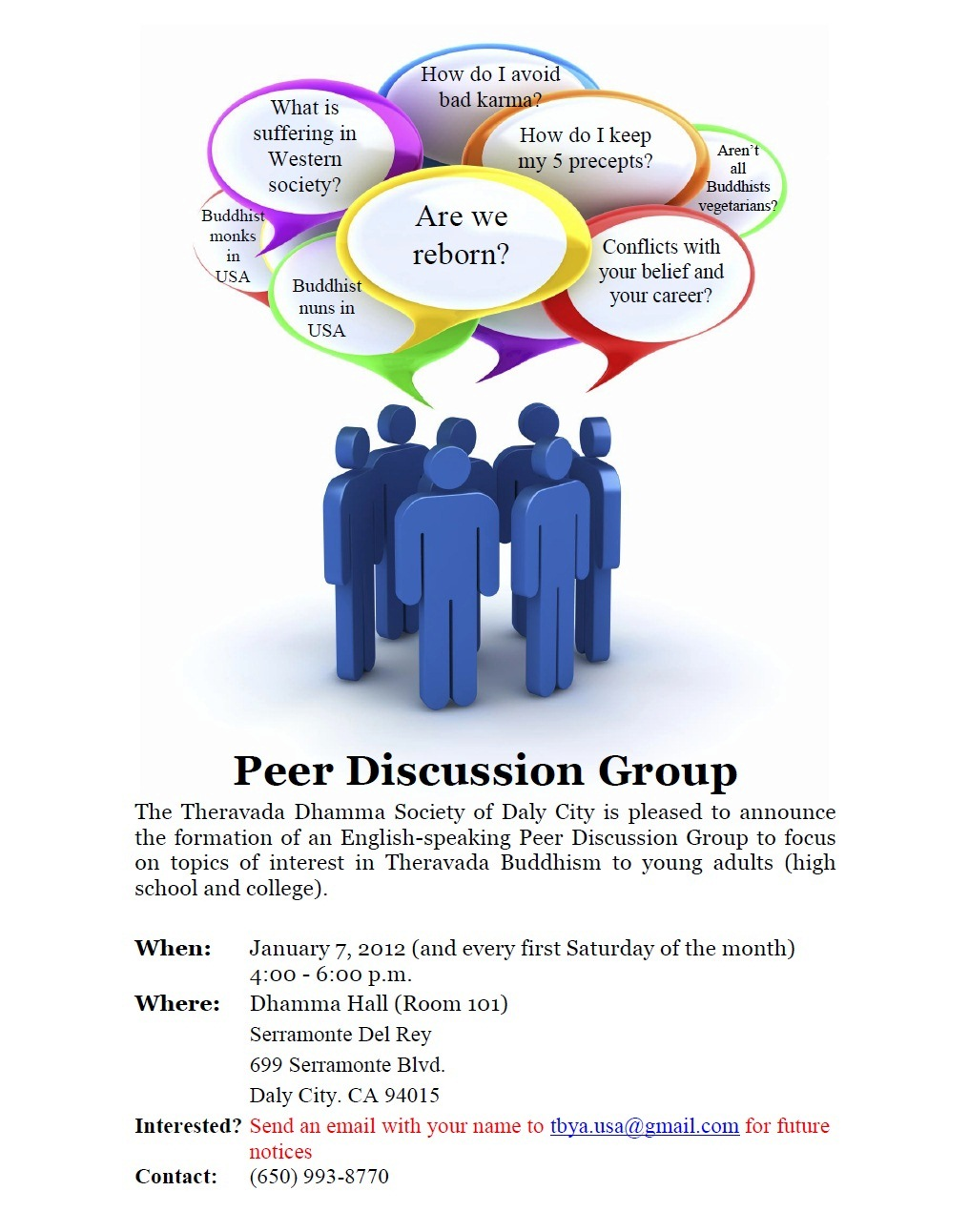 Theravada Buddhist Young Adults Peer Discussion Class, Daly City, January 7, ...