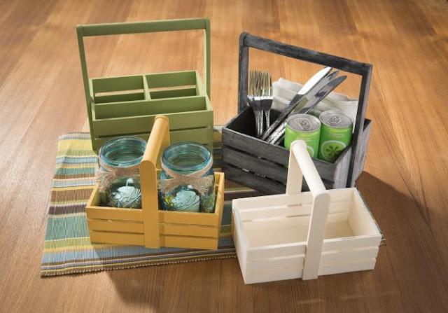 Wood Crate Untensil and napkin holder @craftsavy, #craftwarehouse, unfinishedwood